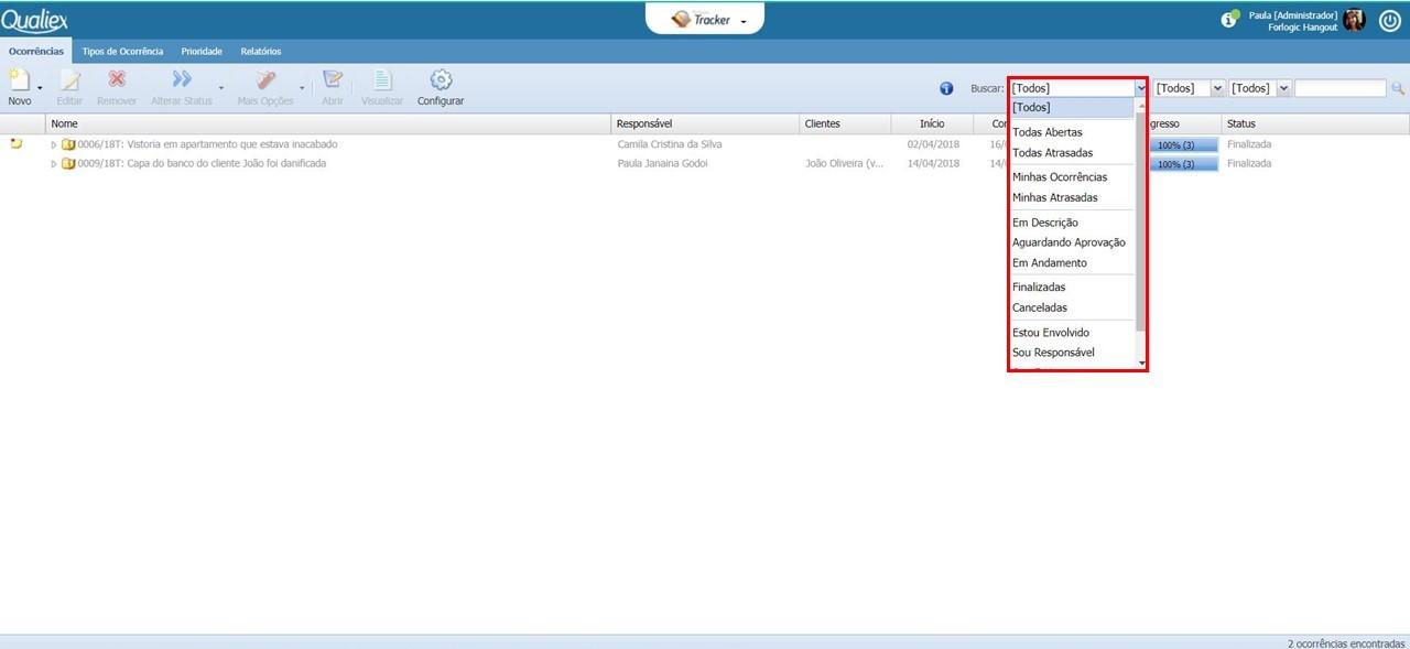 Tela inicial do Tracker, com filtro por status