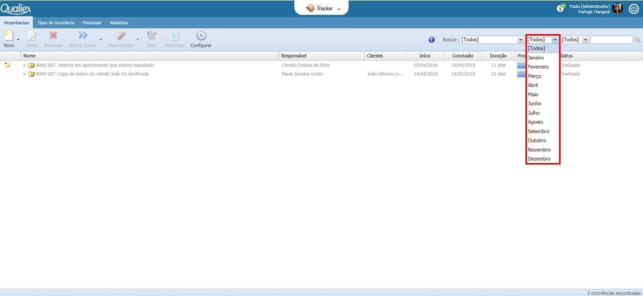 Tela inicial do Tracker, com filtro por mês