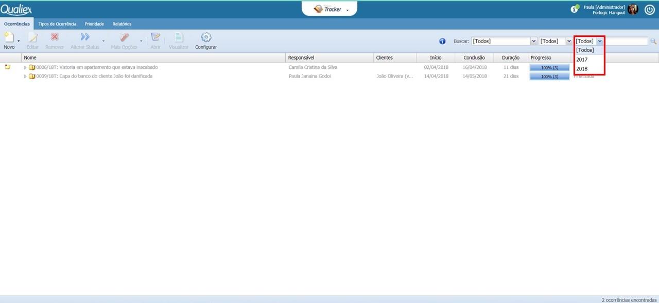 Tela inicial do Tracker, com filtro por ano